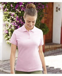 Personalised Lady Fit Cotton Polo Shirt SS75 Fruit of the Loom White 210 gsm Cols 220 GSM