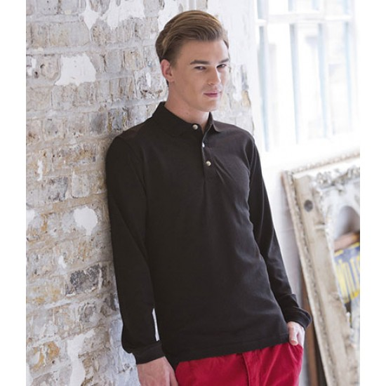Personalised Long Sleeve Cotton Polo Shirt H105 Henbury 225 GSM