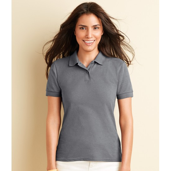 Personalised Polo Shirt GD74 DryBlend Ladies Gildan White 211 gsm Cols 220 GSM