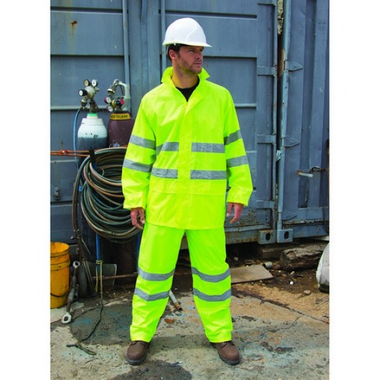 Personalised Hi-Vis Waterproof Suit RS216 Safeguard Result 210 GSM