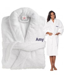 A Custom TEXT Embroidery on FRONT TERRY GIFT COTTON BATHROBE