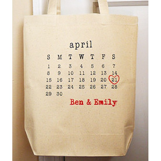 Calender design on bridal Tote bag min 10 pieces