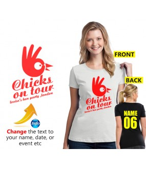Chicks on tour with your customised text below