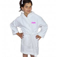 A TEXT Embroidery on Kids Hooded Terry Bathrobe