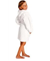 Kids White Hooded Robe