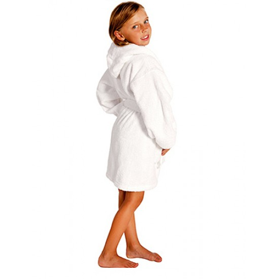 Kids White Hooded Robe