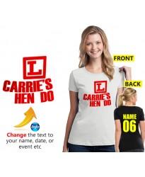 Learners logo on Hen Do Customised T shirt