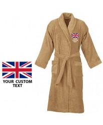 Your country flag and custom text Embroidery logo on bathrobe