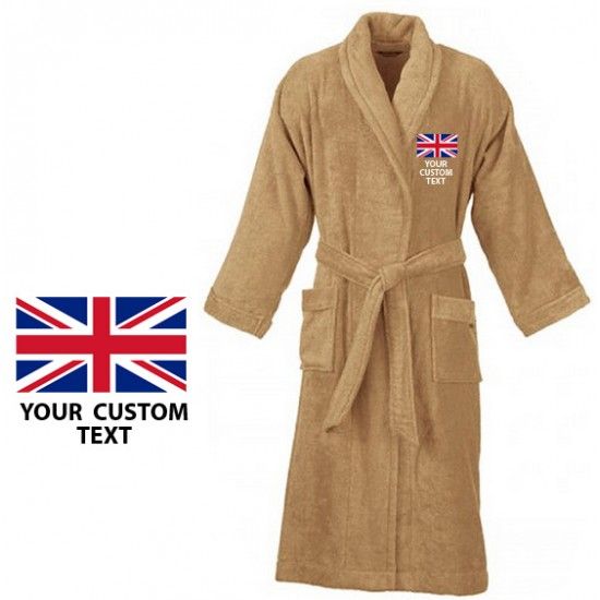 Your country flag and custom text Embroidery logo on bathrobe
