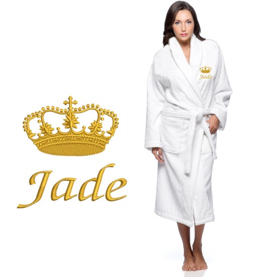 Gold crown design with name text Embroidery on bathrobe