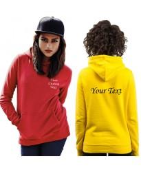 Custom text print on Ladies Fitted Pullover Wedding Hoodie