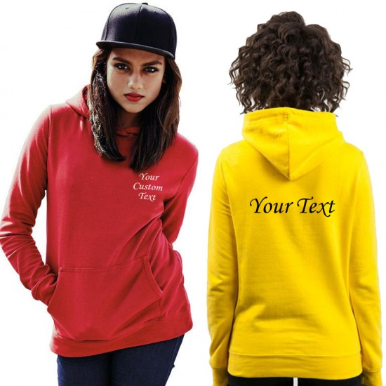 Custom text print on Ladies Fitted Pullover Wedding Hoodie