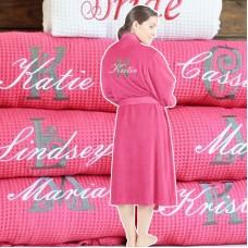 Fuchsia Pink Waffle Custom BACK inital Embroidery