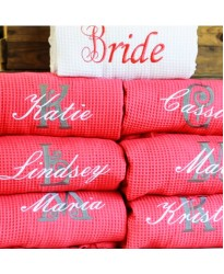 White Bride Red Bridesmaid set Waffle robe with custom back Embroidery