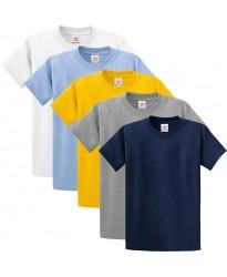 Pack of 5 T Shirts - Navy, Grey, White, Yellow, Sky