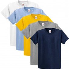 Pack of 5 T Shirts - Navy, Grey, White, Yellow, Sky
