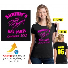 Dirty Dancing text on Customised Hen party T shirt