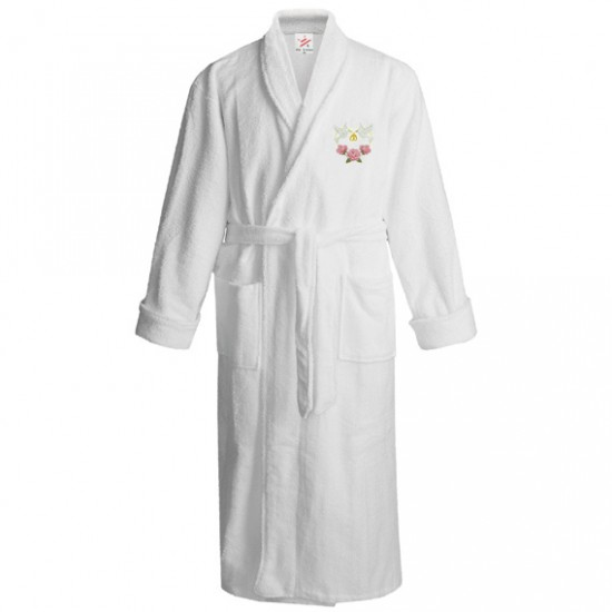 Flying dove with flower logo embroidered Bathrobe