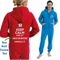 Personalised  Football Onesies keep calm and your BACK text play name printed
