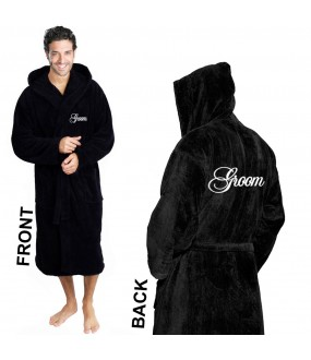 A Embroidery on Front and BACK HOODED TERRY Robe