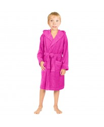 Children Fuschia Pink Hooded Robe
