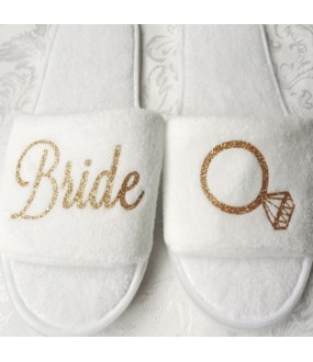 Bridal ring metallic gold thread embroidery on slippers
