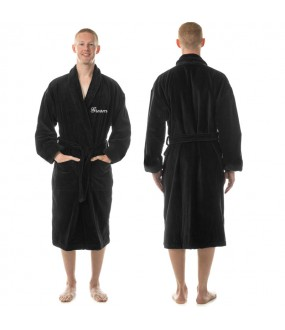 A Men's Embroidered custom text on TERRY towel bathrobe