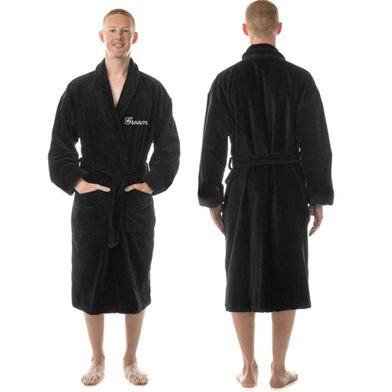 9067e174d3 A Men s Embroidered custom text on TERRY towel bathrobe