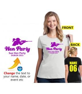 Hen Party Girl Aiming Gun T shirt