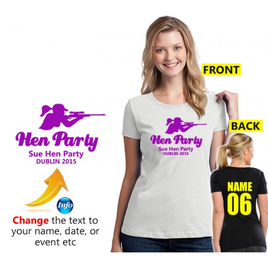 Hen Party Girl Aiming Gun T shirt