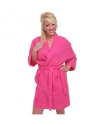Fuchsia Pink Waffle weave shawl collar Bathrobe
