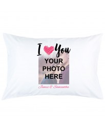 Personalised i love you with image and custom name printed pillowcase covers