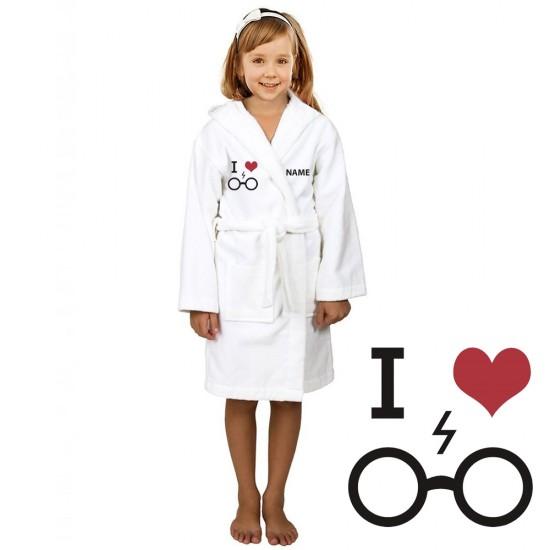 Geek Glasses and custom name Embroidery on Kids Hooded Terry Bathrobe