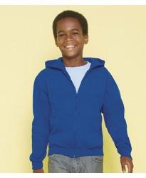 Personalised Hooded Sweatshirt GD58B Kids Zip Gildan White 265 gsm Cols 279 GSM