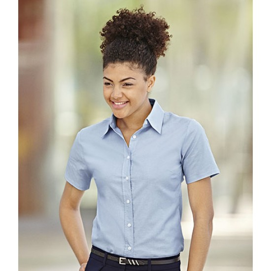 Personalised Oxford Shirt SS471 Lady Fit Fruit of the Loom White 130 gsm Cols 135 GSM