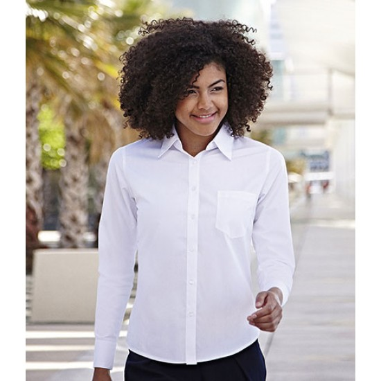 Personalised Poplin Shirt SS482 Lady Fit Fruit of the Loom White 115 gsm Cols 120 GSM