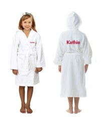 TEXT custom Embroidery Front & Back on Kids Hooded Robes