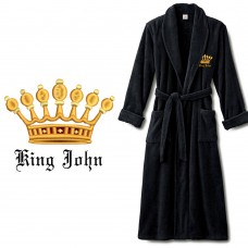 Gold KING crown design with name text Embroidery on mens bathrobe