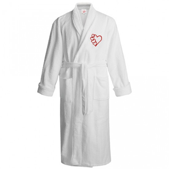 Many hearts logo embroidered Bathrobe
