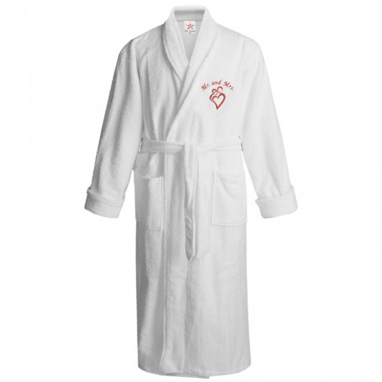 Mr & Mrs heart embroidered robe gown