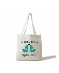 Bridal Mr and Mrs bird theme tote bag
