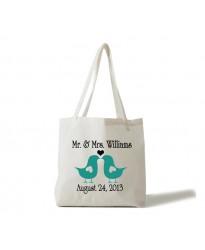 Bridal Mr and Mrs bird theme tote bag