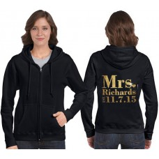 Wedding Zip Hoodie with Mrs and your custom text