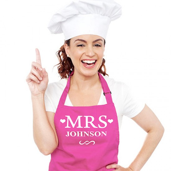 Custom name on Mrs bridal aprons