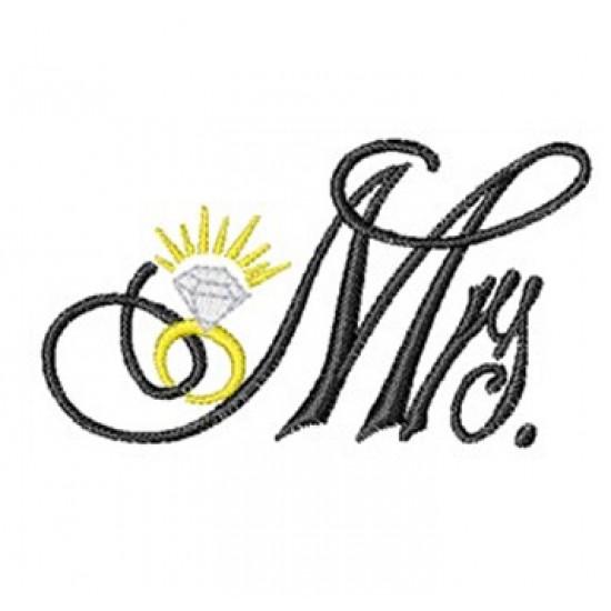 Mrs logo with diamond ring Embroidery Bathrobe