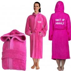 Shut up Mug Hooded Custom TEXT FRONT Embroidery TERRY Towel Bathrobe
