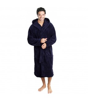 Cotton Terry Navy Hooded Robe