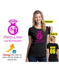 Hen party personalised party crew T shirt with wedding ring