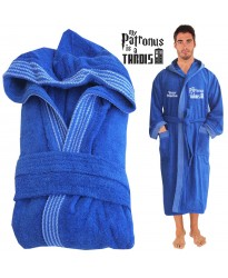 My Patronus is a Time Travel Machine Hooded Custom TEXT FRONT Embroidery TERRY Bathrobe