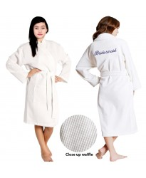 Kids WHITE waffle Bathrobe Embroidery front and back